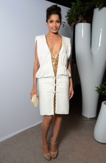 Freida Pinto in Paco Rabanne at the L'Oreal 15th Anniversary Dinner in Cannes, France