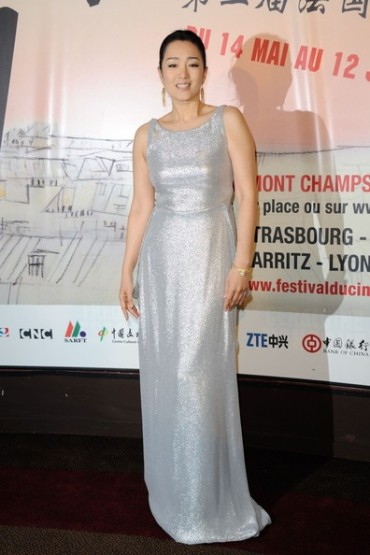 Classy Gong Li Shimmers in a Silver Design in Paris, France