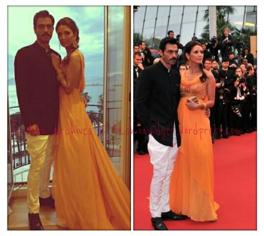 Cannes Last Call: Arjun Rampal in Rohit Bal with Supermodel wife Mehr Jessia-Rampal in Tarun Tahiliani