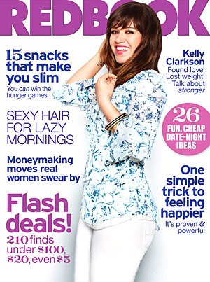 Mag Rack: A Visibly Slimmer Kelly Clarkson Covers Redbook but don't tell her that